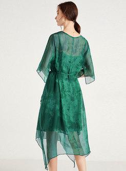 Transparent Half Sleeve Irregular Silk Dress