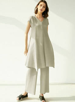 Casual V-neck Pleated Wide Leg Pant Suits