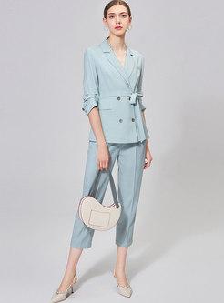 Light Blue High Waisted Capri Dress Pants