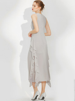 Crew Neck Sleeveless Ruffle A Line Chiffon Maxi Dress