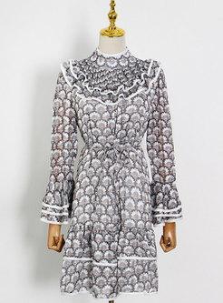 Mock Neck Letter Flare Sleeve Layer Dress