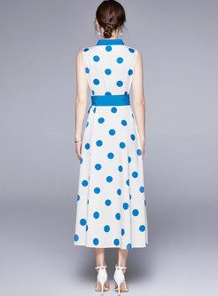 V-neck Polka Dot Color-blocked A Line Maxi Dress