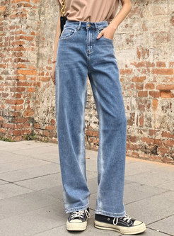 Blue Casual High Waisted Straight Jeans