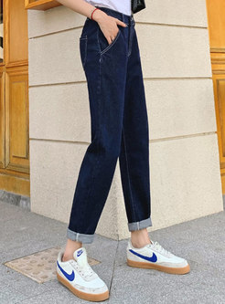 Deep Blue Elasticated Waist Harem Jeans