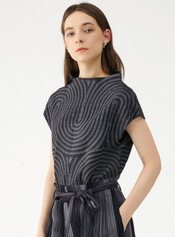 Black Cap Sleeve Embroidered Loose T-shirt