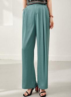 Green Draped Loose Straight Pants