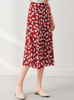 Sweetheart Print A Line Red Skirt