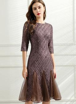 Vintage Half Sleeve Mesh Patchwork Embroidered Dress