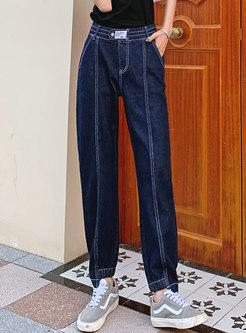 Deep Blue Casual High Waisted Straight Jeans