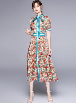 Retro Mock Neck Print A Line Chiffon Long Dress