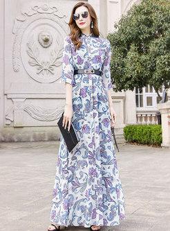 Mock Neck Half Sleeve Print Belted Maxi Dress