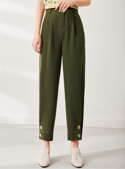 Army Green Ankle-tied Harem Pants