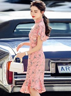 Mock Neck Print Chiffon Patchwork Peplum Dress