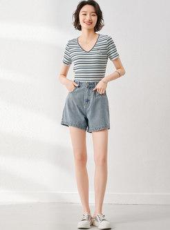 Blue High Waisted Denim Wide Leg Shorts