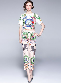 Crew Neck Print High Waisted Slim Pant Suits