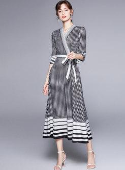 V-neck Half Sleeve Plaid A Line Maxi Dress