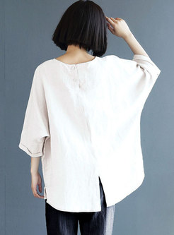 Solid 3/4 Sleeve Plus Size Pullover T-shirt