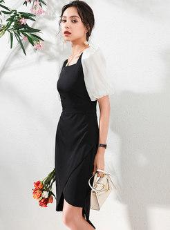 Square Neck Patchwork Irregular Sheath Dress