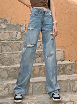 High Waisted Loose Straight Ripped Jeans