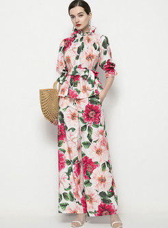 Mock Neck Print High Waisted Wide Leg Pant Suits
