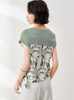 Polka Dot Print Crew Neck Pullover Loose T-shirs
