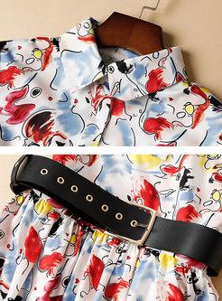 Chic Print Belted Midi Shirt Dress
