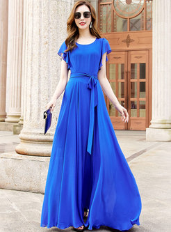 Boho Solid High Waisted Chiffon Big Hem Maxi Dress