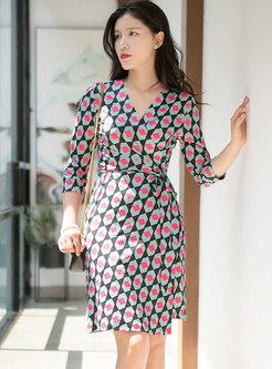V-neck 3/4 Sleeve Plaid Color-blocked Wrap Dress