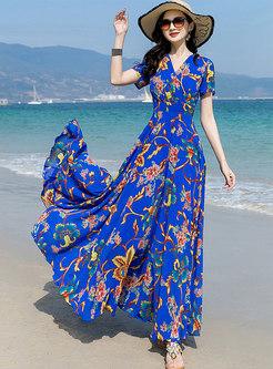 Boho V-neck Print Big Hem Beach Maxi Dress