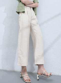 High Waisted Casual Straight Linen Cropped Pants