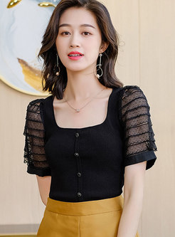 Square Neck Mesh Patchwork Knitted T-shirt