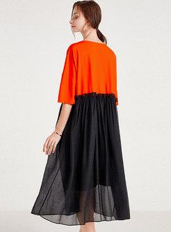 Plus Size Half Sleeve Patchwork Shift Dress