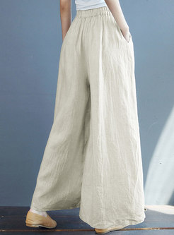 Beige Elasticated Waist Wide Leg Linen Pants