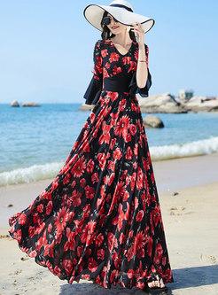 V-neck Flare Sleeve Print Big Hem Maxi Dress