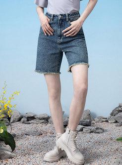 Casual High Waisted Denim Fringe Hot Pants