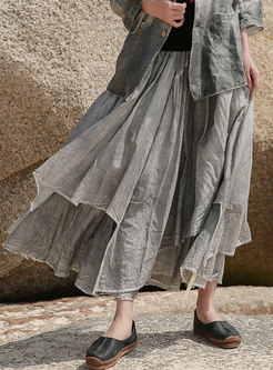 Vintage Solid Layer Maxi Skirt