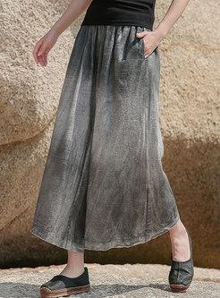 Gradient Grey Wide Leg Linen Culottes