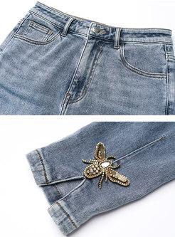 High Waisted Beaded Split Pencil Jeans