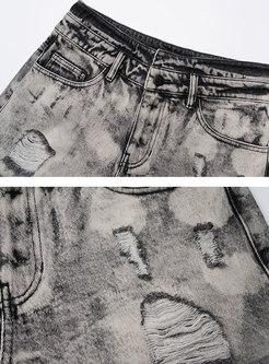 Grey High Waisted Ripped Denim Shorts