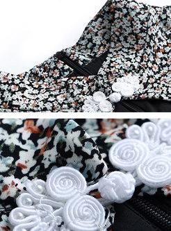 Retro Floral Mock Neck Openwork Skater Dress