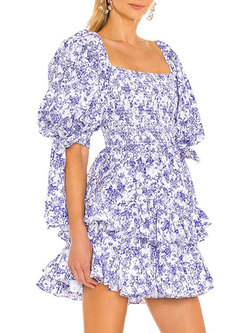 Boho Square Neck Puff Sleeve Floral Layer Dress