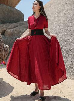 Retro V-neck High Waisted A Line Big Hem Dress