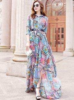 Turn-down Collar 3/4 Sleeve Print Big Hem Maxi Dress