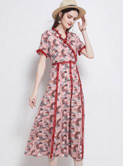 V-neck Lace Patchwork Print A Line Maxi Dress