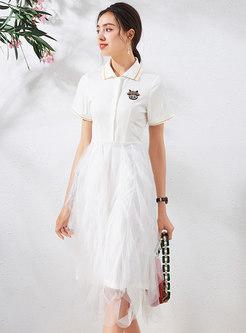 Turn-down Collar Beaded Mesh Patchwork T-shirt Dress