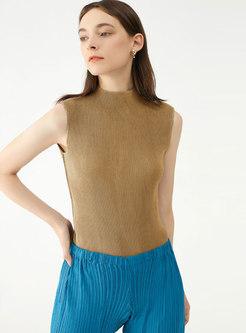 Turtleneck Sleeveless Solid Pullover T-shirt