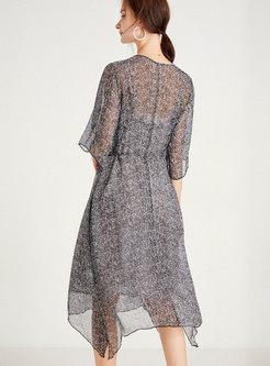 Transparent Floral Irregular Shift Dress