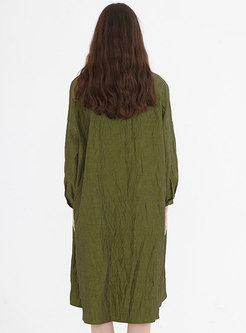 Army Green Long Sleeve Single-breasted Shirt Dress
