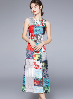 Crew Neck Sleeveless Plaid Print Maxi Dress