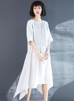 Crew Neck Half Sleeve Irregular Linen Dress